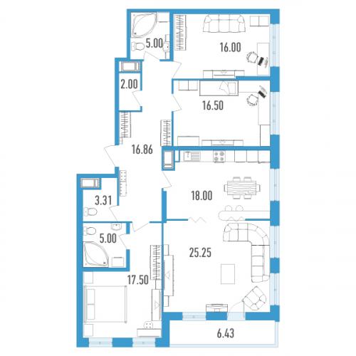 4-комнатная квартира на продажу (128,0 м<sup>2</sup>)
