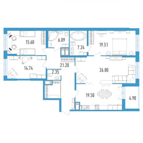 4-комнатная квартира на продажу (135,0 м<sup>2</sup>)