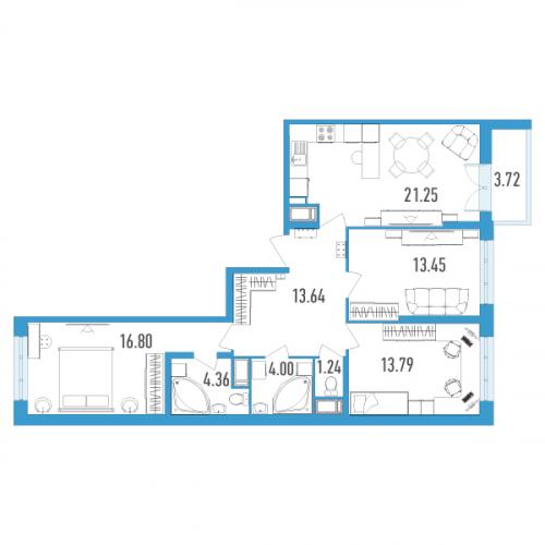 3-комнатная квартира на продажу (90,0 м<sup>2</sup>)