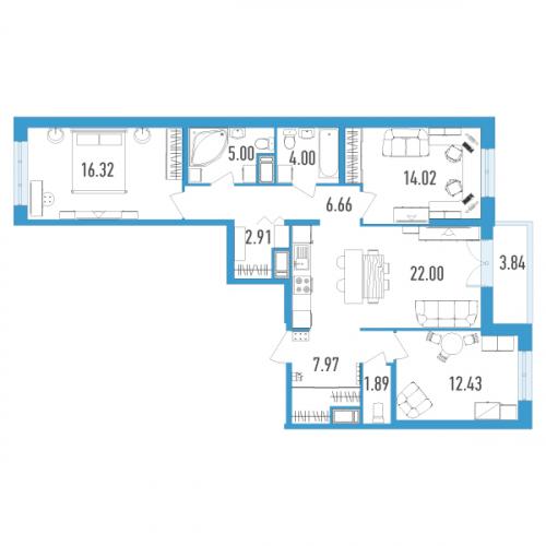 3-комнатная квартира на продажу (95,0 м<sup>2</sup>)
