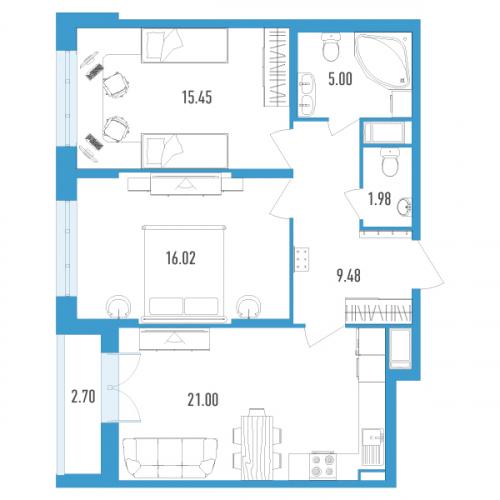 2-комнатная квартира на продажу (70,0 м<sup>2</sup>)