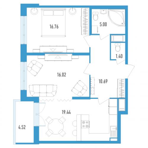2-комнатная квартира на продажу (71,0 м<sup>2</sup>)