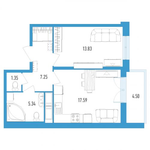 1-комнатная квартира на продажу (46,0 м<sup>2</sup>)
