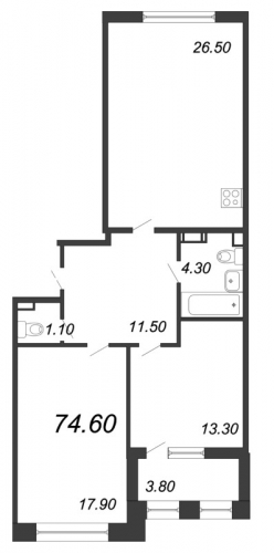 3-комнатная квартира на продажу (74,6 м<sup>2</sup>)