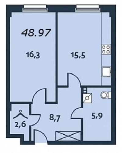 1-комнатная квартира на продажу (49,0 м<sup>2</sup>)