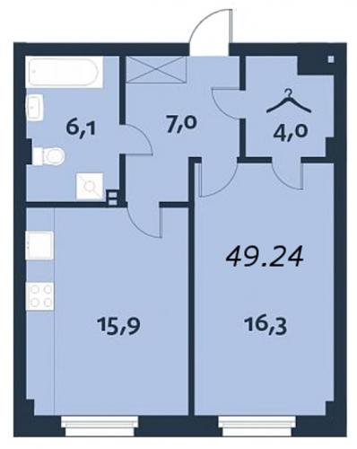 1-комнатная квартира на продажу (49,4 м<sup>2</sup>)