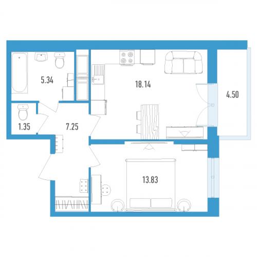 1-комнатная квартира на продажу (47,0 м<sup>2</sup>)