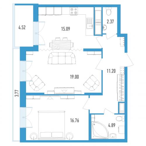 2-комнатная квартира на продажу (72,0 м<sup>2</sup>)