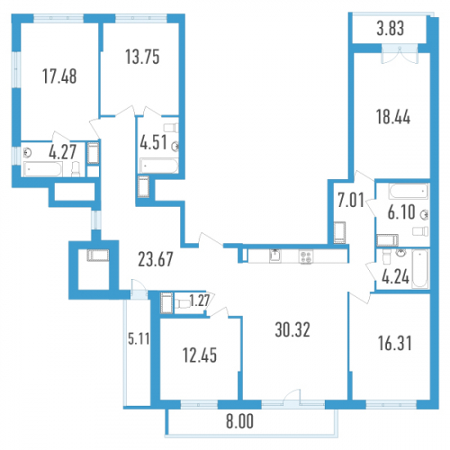 5-комнатная квартира на продажу (166,0 м<sup>2</sup>)