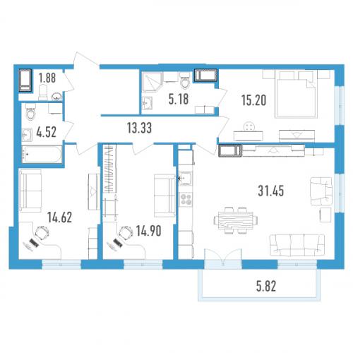 3-комнатная квартира на продажу (102,0 м<sup>2</sup>)