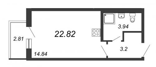 2-комнатная квартира на продажу (22,8 м<sup>2</sup>)