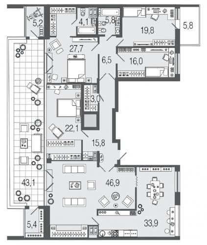 5-комнатная квартира на продажу (212,2 м<sup>2</sup>)