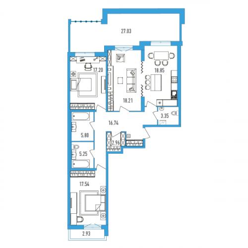 3-комнатная квартира на продажу (115,0 м<sup>2</sup>)