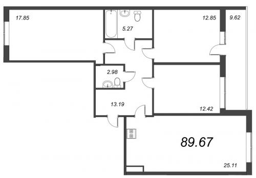 4-комнатная квартира на продажу (89,7 м<sup>2</sup>)
