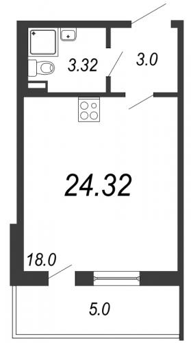 Студия на продажу (24,3 м<sup>2</sup>)