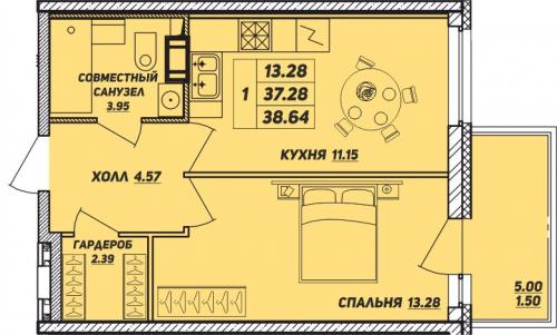 1-комнатная квартира на продажу (38,6 м<sup>2</sup>)