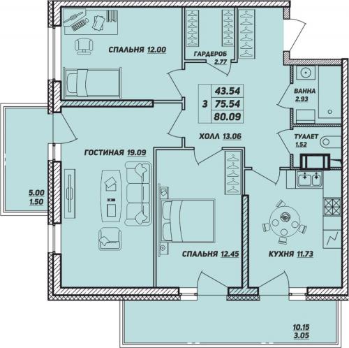 3-комнатная квартира на продажу (80,1 м<sup>2</sup>)