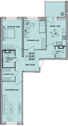 3-комнатная квартира на продажу (85,2 м<sup>2</sup>)