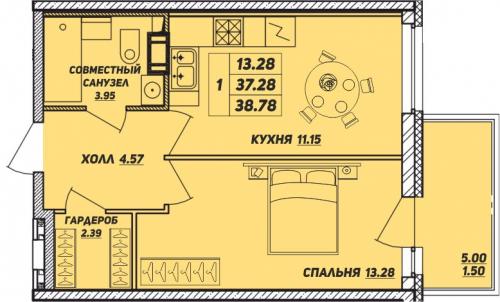 1-комнатная квартира на продажу (38,8 м<sup>2</sup>)