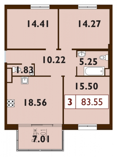 4-комнатная квартира на продажу (83,6 м<sup>2</sup>)
