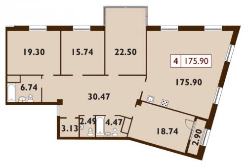 5-комнатная квартира на продажу (175,9 м<sup>2</sup>)
