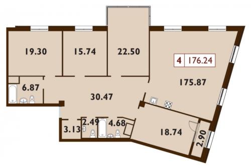 5-комнатная квартира на продажу (176,2 м<sup>2</sup>)