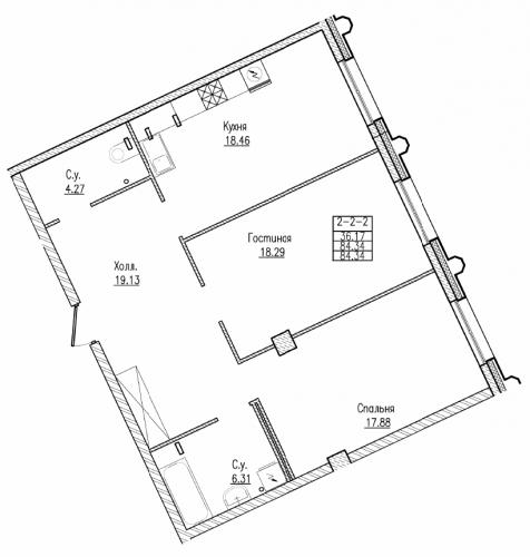 2-комнатная квартира на продажу (84,3 м<sup>2</sup>)