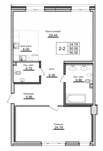 1-комнатная квартира на продажу (90,6 м<sup>2</sup>)