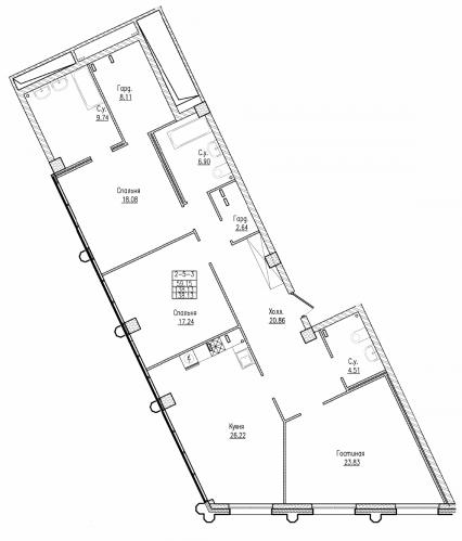 3-комнатная квартира на продажу (138,1 м<sup>2</sup>)