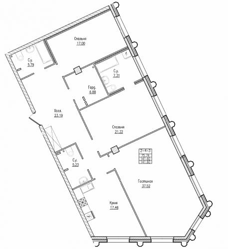 3-комнатная квартира на продажу (141,6 м<sup>2</sup>)