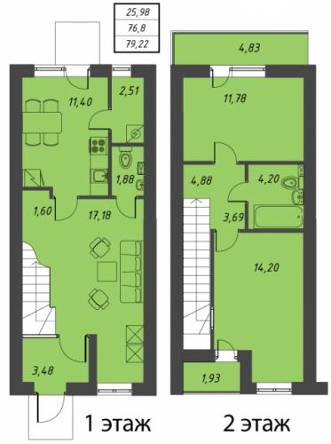 3-комнатная квартира на продажу (79,2 м<sup>2</sup>)