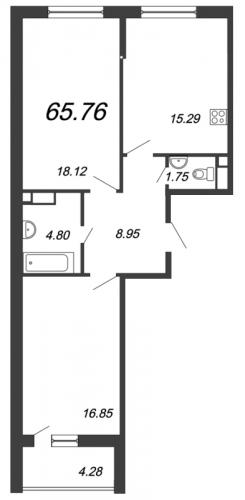 2-комнатная квартира на продажу (65,8 м<sup>2</sup>)