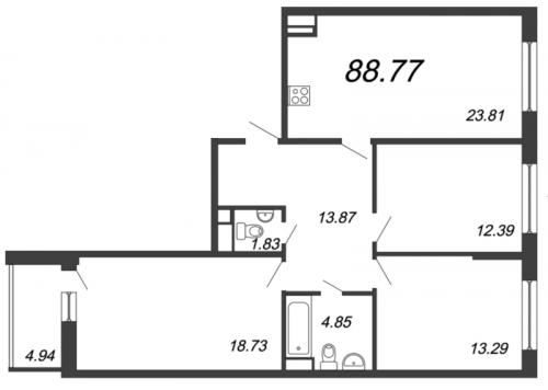 4-комнатная квартира на продажу (88,8 м<sup>2</sup>)