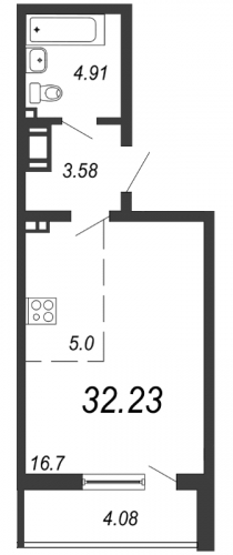 Студия на продажу (32,2 м<sup>2</sup>)
