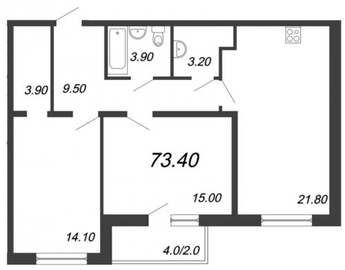 2-комнатная квартира на продажу (73,6 м<sup>2</sup>)