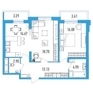 2-комнатная квартира на продажу (73,0 м<sup>2</sup>)