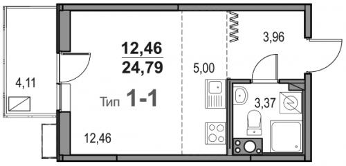 Студия на продажу (24,8 м<sup>2</sup>)