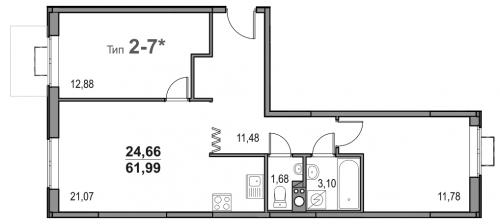 3-комнатная квартира на продажу (62,0 м<sup>2</sup>)