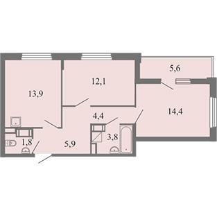 3-комнатная квартира на продажу (76,4 м<sup>2</sup>)