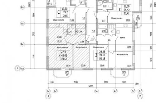 2-комнатная квартира на продажу (49,6 м<sup>2</sup>)