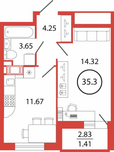 1-комнатная квартира на продажу (35,3 м<sup>2</sup>)