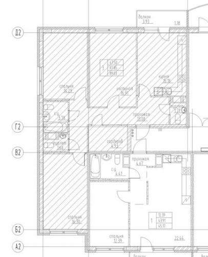 3-комнатная квартира на продажу (103,8 м<sup>2</sup>)