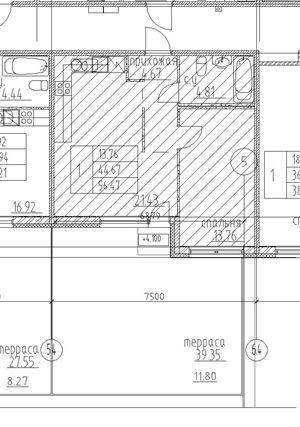 1-комнатная квартира на продажу (56,5 м<sup>2</sup>)