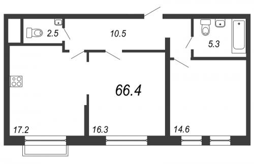 3-комнатная квартира на продажу (66,4 м<sup>2</sup>)