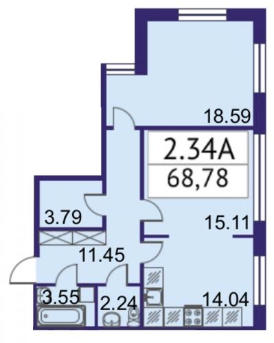 2-комнатная квартира на продажу (68,8 м<sup>2</sup>)