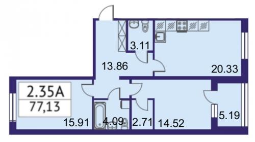 3-комнатная квартира на продажу (77,1 м<sup>2</sup>)