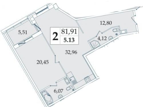 2-комнатная квартира на продажу (81,7 м<sup>2</sup>)