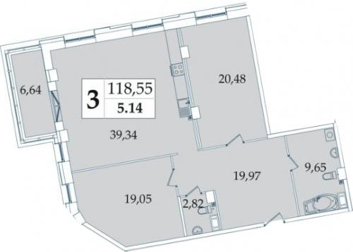 3-комнатная квартира на продажу (119,2 м<sup>2</sup>)