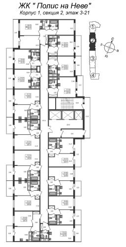 3-комнатная квартира на продажу (54,5 м<sup>2</sup>)