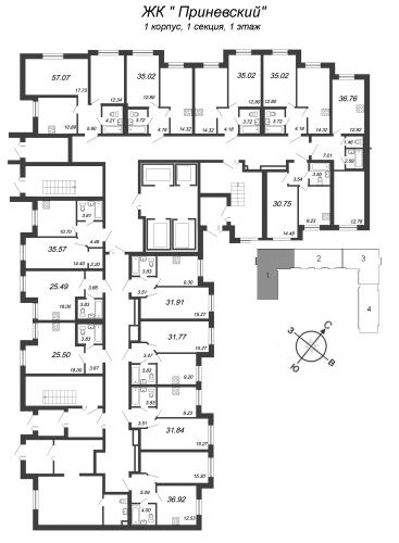 2-комнатная квартира на продажу (35,0 м<sup>2</sup>)